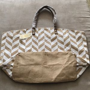 Mudpie natural chevron tote *NEW*